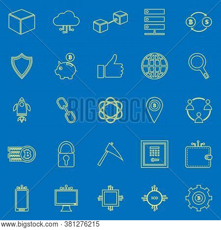 Blockchain Line Color Icons On Blue Background, Stock Vector