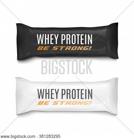 Whey Protein Food Bars Packaging Set, Realistic Vector Illustration Isolated.