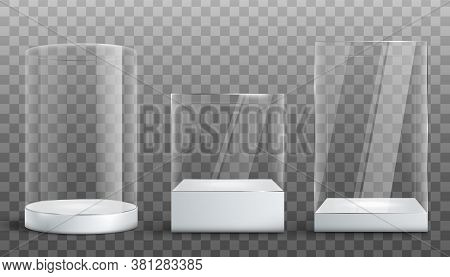 Empty Glass Display Exhibition Cases Set Realistic Vector Illustration Isolated.