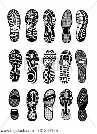 Shoe Sole. Foot Print Tread, Boots, Sneakers, Trekking Or Running Shoe Illustration. Human Footprint