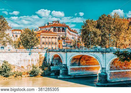 Regina Margherita Bridge (ponte Regina Margherita) In Centre Of Rome, Italy.