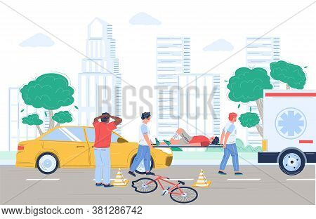 Bicycle Accident Cyclist Collision With Car, Emergency Care, Vector Flat Illustration