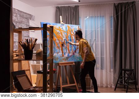 Contemporary Painter In Studio Creating A Masterpiece. Modern Artwork Paint On Canvas, Creative, Con