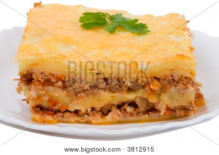 Close-Up Lasagne On Plate