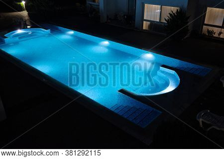 Lighting Of Swimming Pool In The Night Time