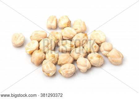 Close Up Of Chickpeas Isolated On White Background
