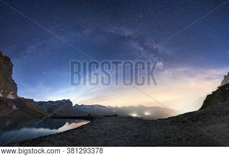 Landscape Of Beautiful Mountains Area And Lake With Clear Fresh Water In Alps. Gorgeous Mountain Rid