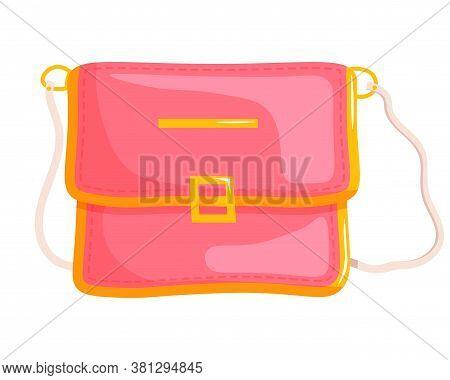 Woman Messenger Bag. Isolated Female Fashion Accessory. Beautiful Woman Handbag Glamour Style Design