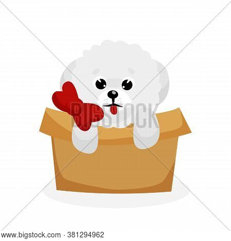 Bichon Frise Puppy. Isolated Playful Purebred Bichon Frise Dog Puppy Icon. Cute White Doggy Pet Anim