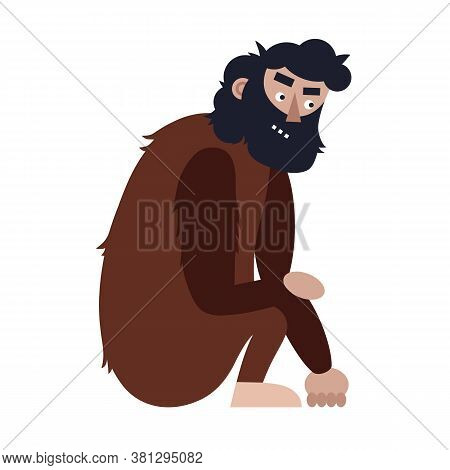Ape Man. Isolated Adult Monkey Cartoon Character With Human Face. Vector Ancient Prehistoric Male Ca