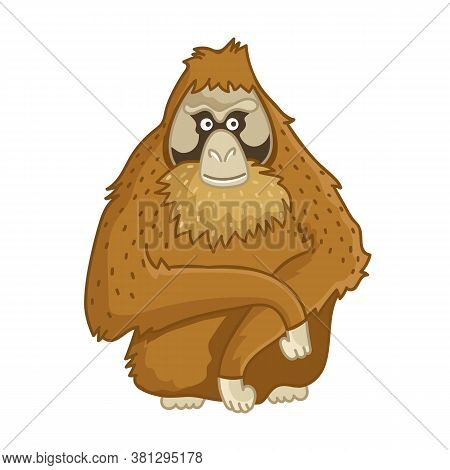 Orangutan Monkey. Isolated Wild Brown Ape Portrait. Cute Primate Mammal Cartoon Character Icon. Vect