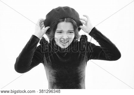 Please No. Childhood Concept. Small Beauty Isolated On White. Kid Has Perfect Skin And Hair. Parisia