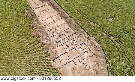 Archaeological Excavation. Aerial View Of The Archaeological Excavations And Archaeologist Camp.