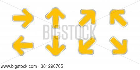 Arrow Pointing Yellow Color Isolated On White, Clip Art Arrow Icon Set For Direction Pointing