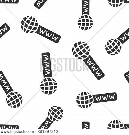 Global Search Icon In Flat Style. Website Address Vector Illustration On White Isolated Background.