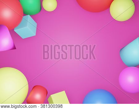 3 D Various Shapes Abstract Pink Background Texture