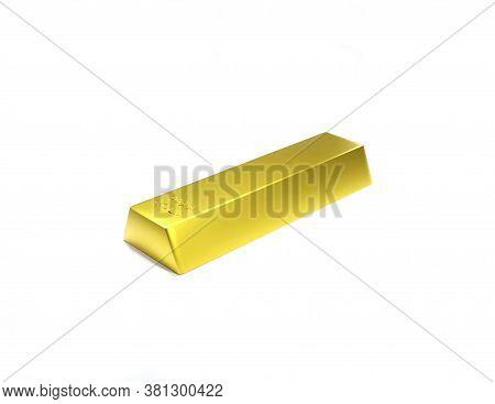 3d Rendering Illustration Gold Bar Bullion Isolated On A White Background