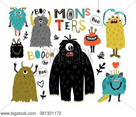 Cartoon Furry Monsters. Cute Creatures With Fun Face, Little Funny Symbols Of Horror, Humor Characte