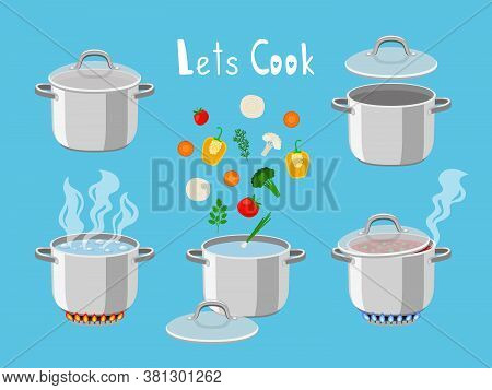 Cooking Pans With Water. Cartoon Pan Objects For Kitchen Of Pots With Boiling Water And Cooking Ingr