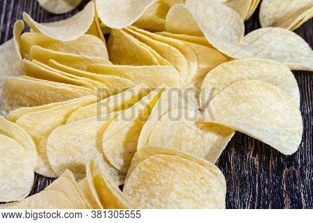 Real Crispy Ready-to-eat Potato Chips, Closeup Of Unhealthy Foods, Mashed Potato Chips