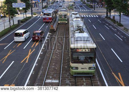 August 5, 2020, Hiroshima, Japan - Hiroshima Streetcars (hiroden) Run-pass, Through Hondori Street.