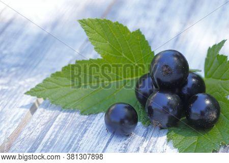 Black Currant Berries Close-up. Natural Background.round Black Currant Berries On A Wooden Table.hor