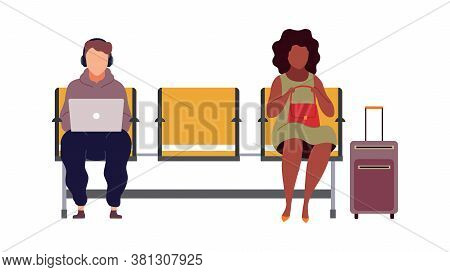 People In Airport Arrival Waiting Room, Departure Lounge, Modern Characters Sit On Chair And Wait Pl