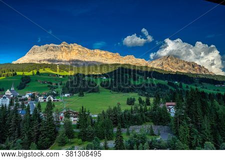 Western Face Of Sasso Di Santa Croce In Eastern Dolomites, Overlooking Badia Valley, The Vertical Wa