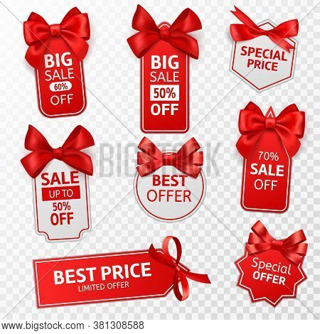 Shopping Labels. Red Price Tags Special Offer, Sale Retail, Promotion Messaging Christmas Pricing, D