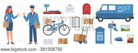 Postman Characters. Woman And Man In Mailman Uniform, Postal Equipment. Van And Bike, Parcels And Po