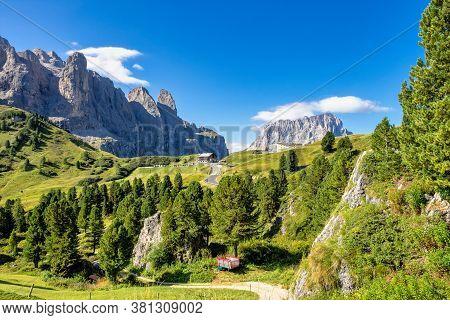 Landscape View Of Colfosco, Calfosch, Val Gardena, Dolomites, South Tyrol In Italy