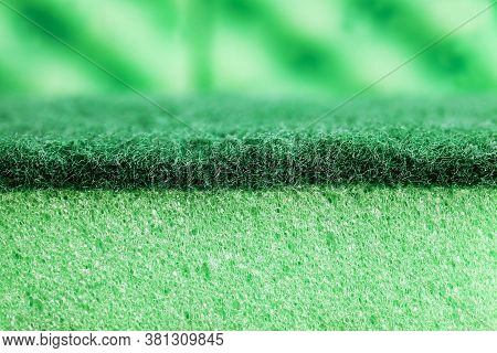 Green Sponges For Washing Dishes And Other Items, Close Up Of Kitchen Sponges