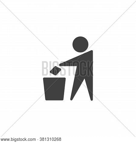 Man Throwing Trash Vector Icon. Do Not Litter Filled Flat Sign For Mobile Concept And Web Design. Gl