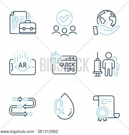 Methodology, Vacancy And Quick Tips Line Icons Set. Diploma Certificate, Save Planet, Group Of Peopl