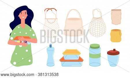 Eco Bags. Woman With Reusable Lunch Box. Zero Waste Elements, Isolated Textile Packages For Shopping