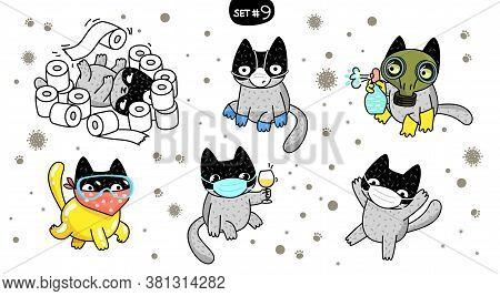 Concept Of Quarantine. Cartoon Cat In A Glamorous Protective Suit. Self Isolation, Quarantine Due To