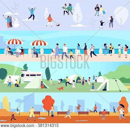People Outdoor Activities. Seasonal Walking Man Woman Children. Winter Summer Autumn And Spring Time