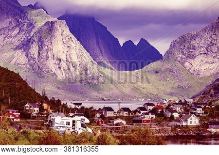 Scenic Fjord Landscape With Reine Village, Coast Nature With Sharp High Mountain Peaks, Lofoten Isla