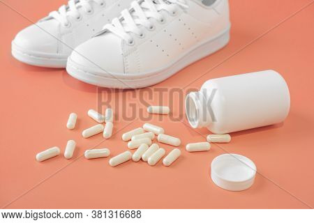 Sneakers And Pills. Capsules And Sneakers. Supportive Drugs For The Activities And Sneakers. Helps S