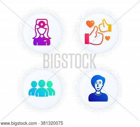 Like, Group And Oculist Doctor Icons Simple Set. Button With Halftone Dots. Businesswoman Person Sig