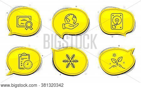 Snowflake Sign. Diploma Certificate, Save Planet Chat Bubbles. Grow Plant, Exam Time And Hdd Line Ic