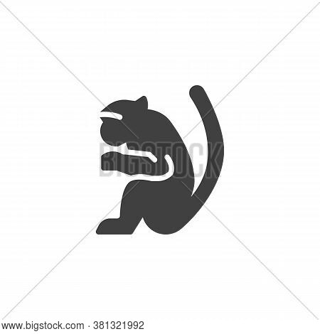 Marmoset Monkey Vector Icon. Filled Flat Sign For Mobile Concept And Web Design. Monkey Animal Glyph
