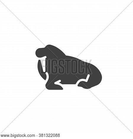 Walrus With Tusk Vector Icon. Filled Flat Sign For Mobile Concept And Web Design. Seal Animal Glyph
