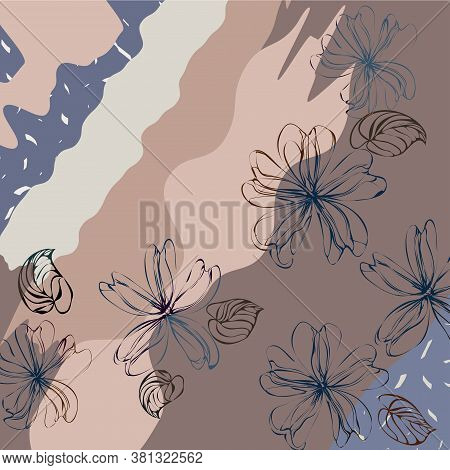 Scarf Floral Print. Design For Bandana, Pareo, Pillow, Home Textile. Cute Flower And Plant Backgroun