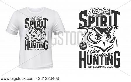 Owl Or Owlet Bird T-shirt Vector Print Mockup Template. Great Horned Owl Head, Nocturnal Bird Of Pre