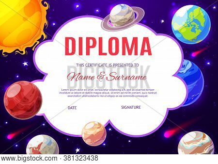 Education School Diploma, Kindergarten Certificate With Vector Cartoon Solar System Planets In Dark