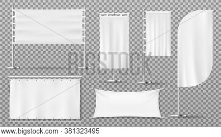 Advertising Banners And Flags, Blank Isolated White Templates, Vector Realistic Mockups. Outdoor Adv