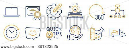 Set Of Technology Icons, Such As Quick Tips, Restructuring. Certificate, Save Planet. Chemistry Lab,