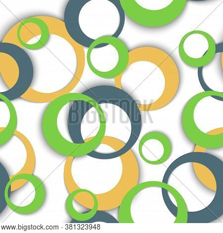 Circle Rings Abstract Geometric Seamless Pattern. Concentric Shapes Baby Fasion Textile Print. Geome