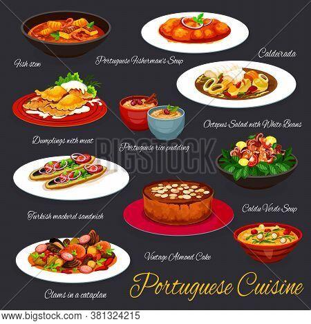 Portuguese Cuisine Food, Portugal Restaurant Menu Dishes, Vector Traditional Meals. Portuguese Cuisi
